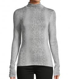 BCBGMaxazria Grey Frost Printed Long-Sleeve Top