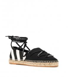 Off-White Black Self Tie Closure Espadrilles