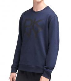 DKNY Dark Blue Stacked Logo Fleece Pullover