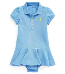 Ralph Lauren Baby Girls Blue Pique Polo Dress