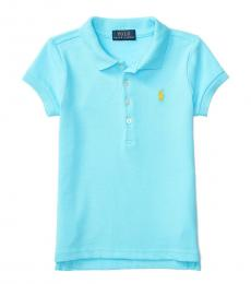 Little Girls French Turquoise Polo