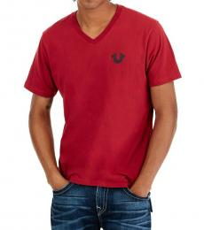 True Religion Red Horseshoe Logo V-Neck Tee