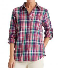 Pink Multi Plaid Cotton Shirt