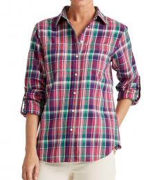 Ralph Lauren Pink Multi Plaid Cotton Shirt
