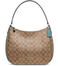 Coach Khaki Cyan Signature Large Hobo