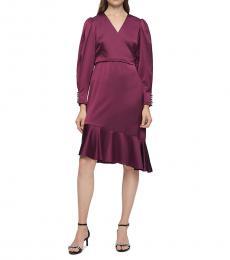 Burgundy Wrap Asymmetric Flutter Dress