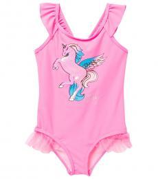 Betsey Johnson Little Girls Pink Unicorn One-Piece Swimsuit