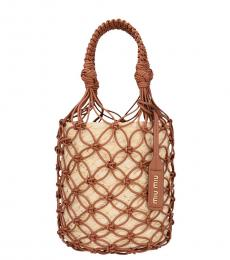 Brown Mesh Small Bucket Bag