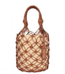 Miu Miu Brown Mesh Small Bucket Bag