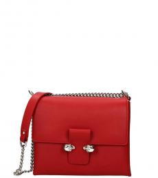 Alexander McQueen Red Skull Flap Medium Shoulder Bag