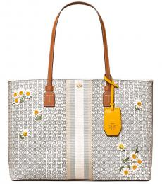 Tory Burch New Ivory Gemini Link Applique Large Tote