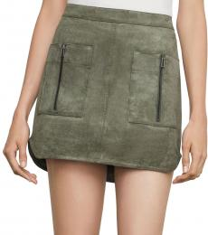 BCBGMaxazria Olive Patch Pocket Faux-Suede Skirt