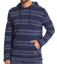 Navy Blue-Striped Lounge Hoodie