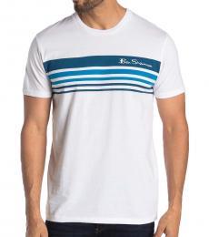Ben Sherman White Ombre Stripe Print T-Shirt