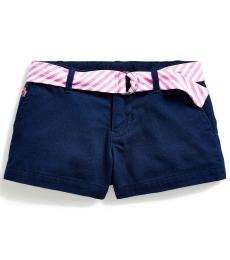 Little Girls French Navy Belted Chino Shorts