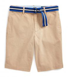 Boys Classic Khaki Slim Fit Belted Chino Shorts