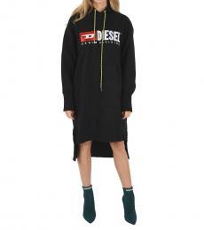 Diesel Black Logo Hoodie Dress