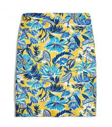J.Crew Yellow Printed Pencil Skirt