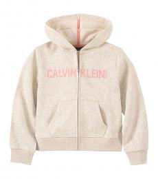 Calvin Klein Little Girls Oatmeal Full Zip Hoodie
