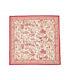 Tory Burch New Ivory-Red Destination Square Scarf
