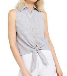 Michael Kors Light Blue Tie-Front Sleeveless Shirt