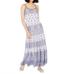Michael Kors Grecian Blue Printed Casual Maxi Dress