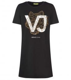 Versace Jeans Black Logo T-Shirt Dress