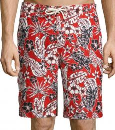 Tommy Bahama Red Baja Forte Floral-Print Swim Trunks