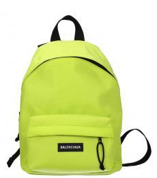 Balenciaga Neon Green Logo Large Backpack