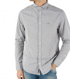 Armani Jeans Light Grey Custom Fit Check Shirt