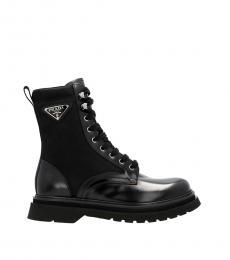Prada Black Applicated Logo Combat Boots