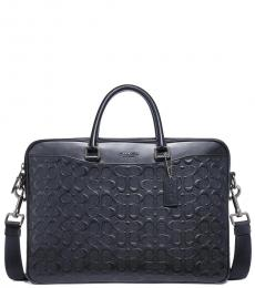 Coach Midnight Navy Beckett Slim Signature Large Briefcase Bag