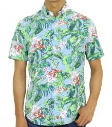 Ralph Lauren Blue Slim Floral Aloha Shirt