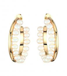 Tory Burch Gold Pearl-Fringe Hoop Earrings