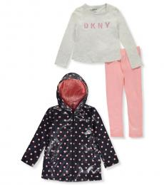 DKNY 3 Piece /Raincoat/Top/Leggings Set (Little Girls)