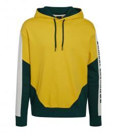 Armani Exchange Yellow Logo Colorblock Hoodie