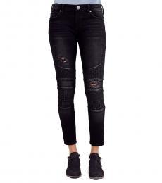 True Religion Black Halle Moto Super Skinny Stretch Jeans