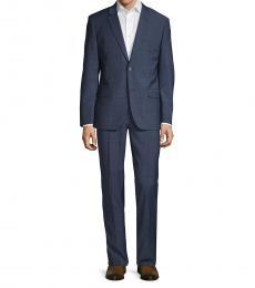 Ben Sherman Navy Blue Slim-Fit Textured Suit