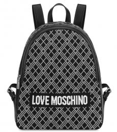 Love Moschino Black Textured Large Backpack