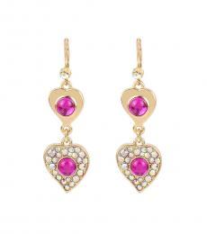 Betsey Johnson Gold Pink Double Heart Earrings
