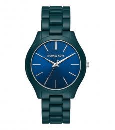 Michael Kors Blue Slim Runway Watch