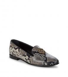 Roberto Cavalli Snake Print Logo Leather Loafers