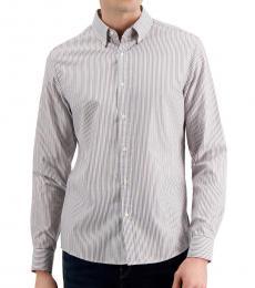 Michael Kors Purple Slim-Fit Stripe Oxford Shirt