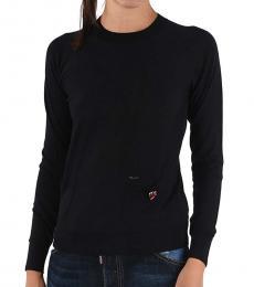 Dsquared2 Black Wool Crew-Neck Sweater