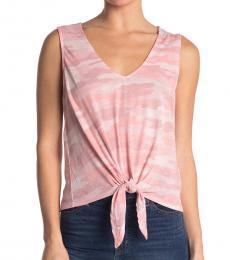 Pink V-Neck Front Tie Top