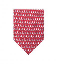 Salvatore Ferragamo Red Sailboat Tie