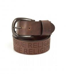 True Religion Brown Perforated Leather Belt