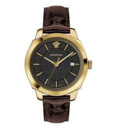 Versace Brown Gold Logo Watch