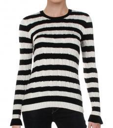 White Cream Striped Crewneck Sweater