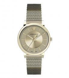 Versace Gold Mesh Logo Watch